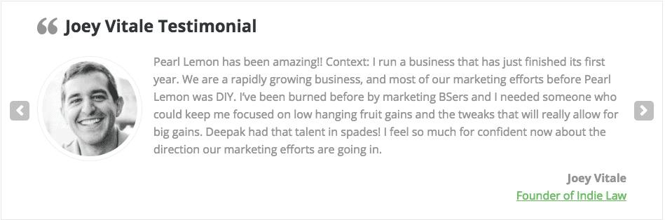 SEO Agency Pearl Lemon's client testimonial