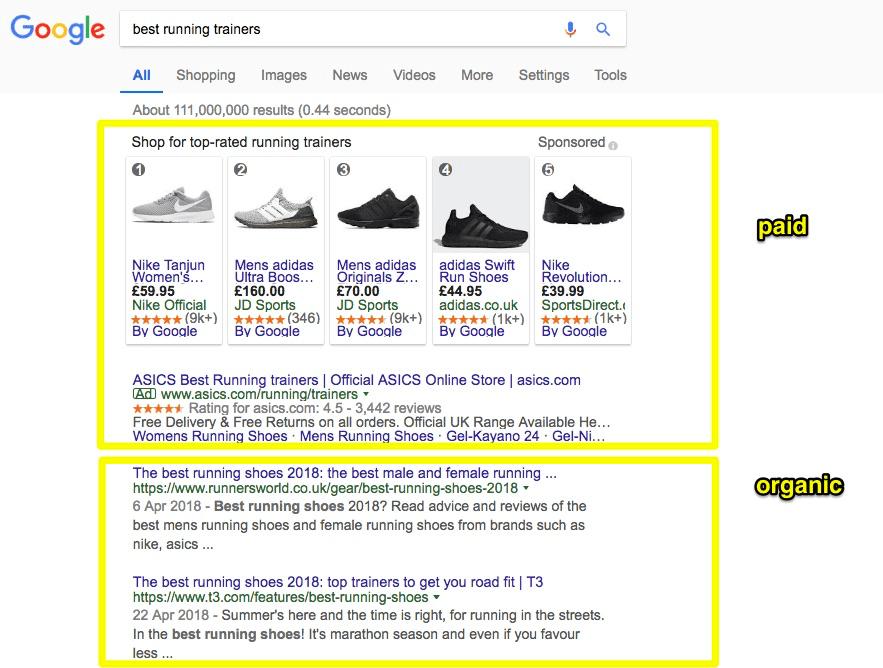 Screenshot showing SEO results in Google