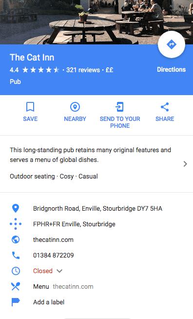 Google My Business listing for Restaurants