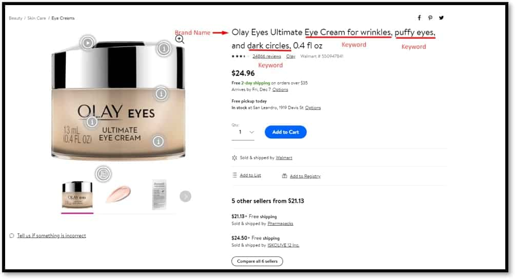 walmart product listing for seo