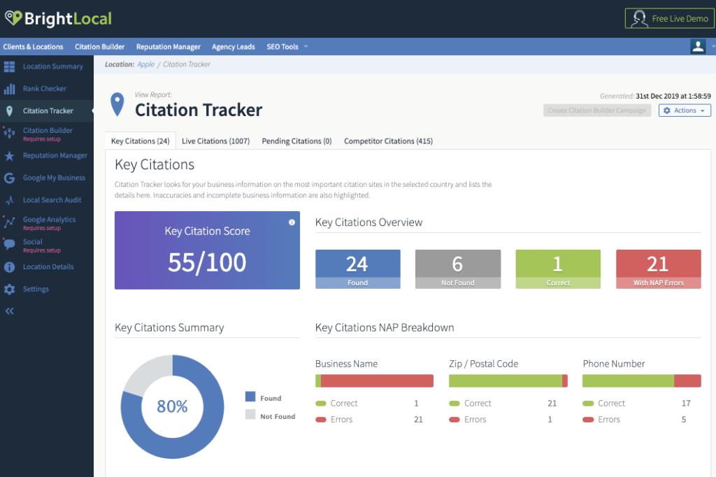 BrightLocal Citation Tracker review