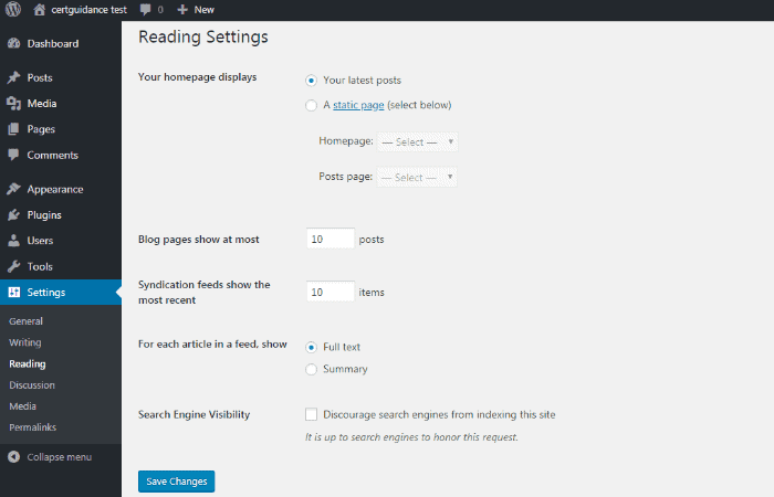 "Settings"" and ""Reading"