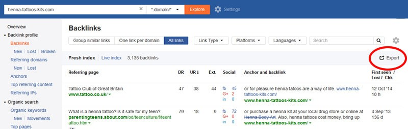 Exporting backlink data from ahrefs.