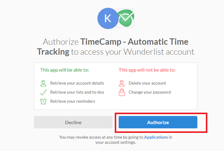 Authorize in TimeCamp