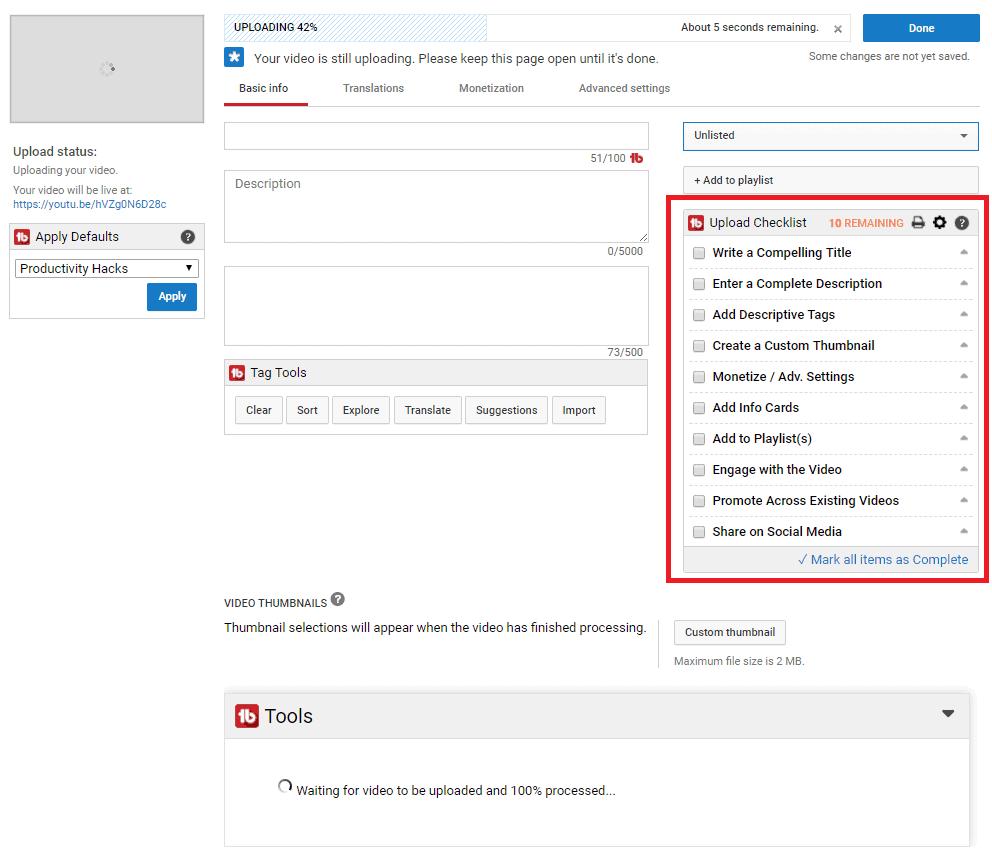 Upload checklist on TubeBuddy