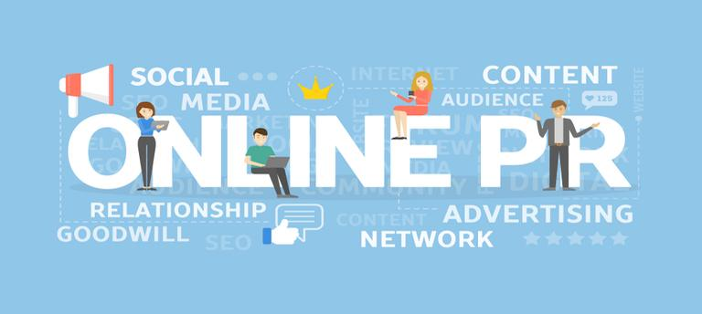 A banner of saying 'online PR' with 'social media', 'content', 'advertising' and people sitting on and in the spaces of the banner