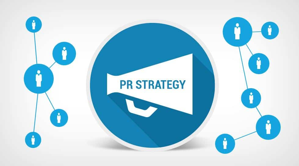 Blue circle with 'PR strategy' written on a megaphone