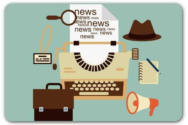 Cartoon a typewriter with a piece of paper with 'news' written all over it and a notepad and fedora hat