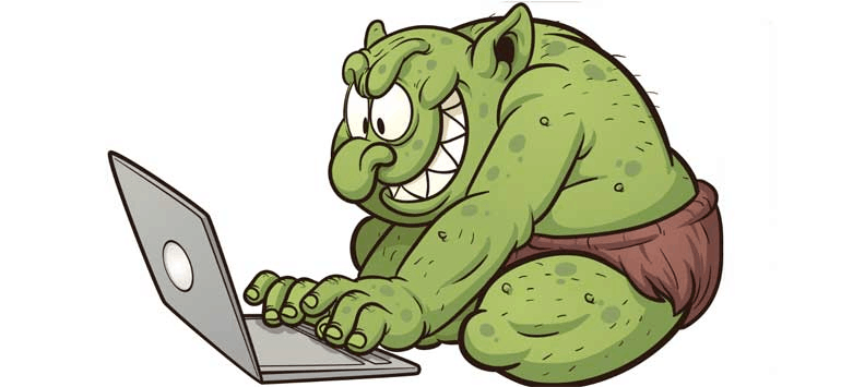 Cartoon of an 'internet troll' with a real green troll grinning as it types on a laptop