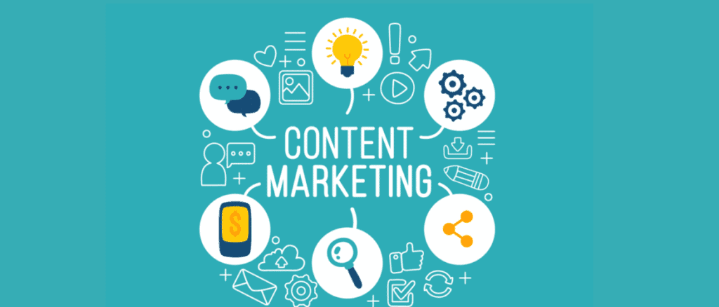 Green background of content marketing with bubbles coming off it with a lightbulb, cogs, a phone with a dollar sign, a magnifying glass, a share button and a chat window