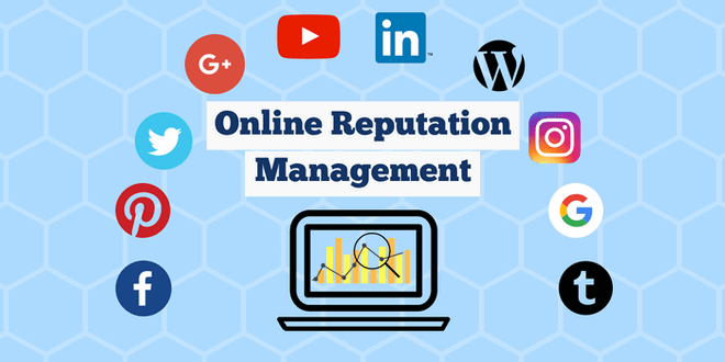Hexagons on a blue background with popular company icons like Twitter, Facebook, Pinterest, Google, Youtube, WordPress and LinkedIn in a semi-circle above a laptop with the title 'online reputation management'