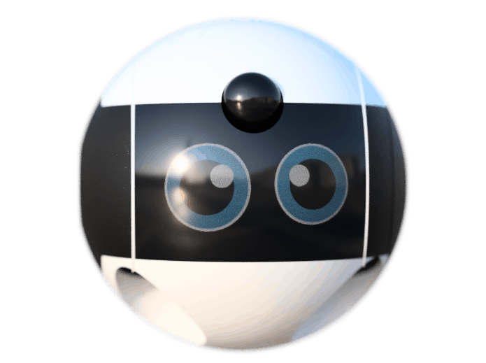 Image of an anthropomorphic robot from BemyOrby - a black and white ball with wide, cartoon eyes