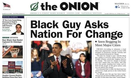 Image of satirical publication The Onion with a picture of Obama