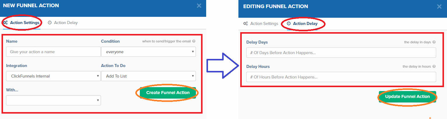 Action settings