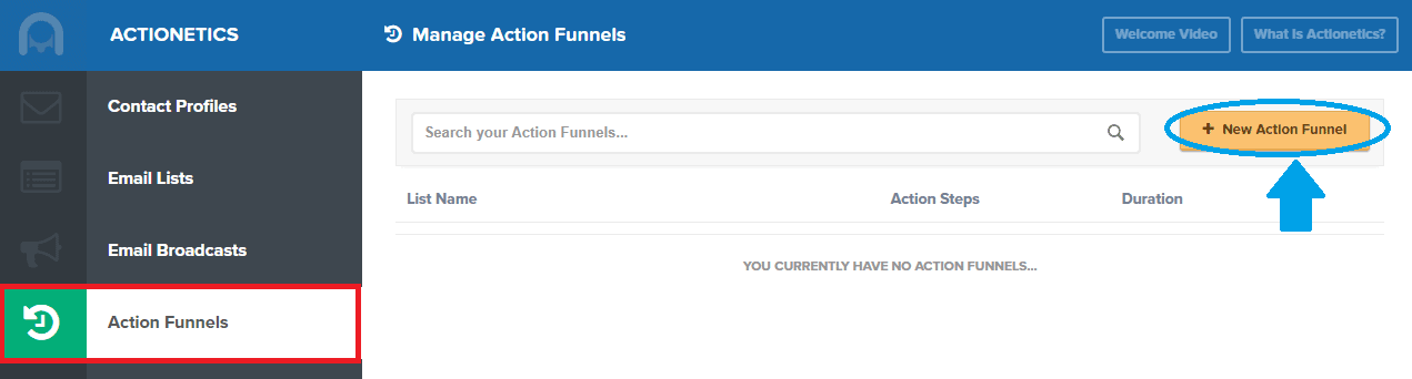 Manage action funnel