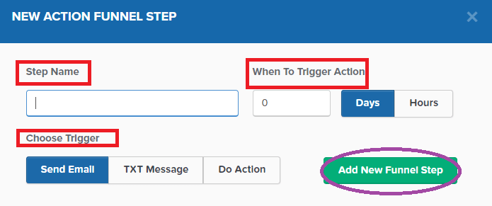 New action funnel step