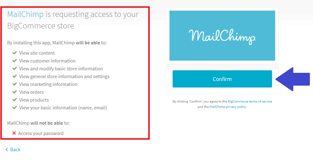 MailChimp Access from BigCommerce