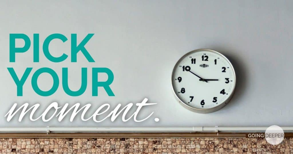 Picture of a clock on a wall with the slogan 'pick you moment'