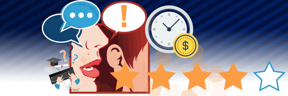 Striped blue background with a box with pop-art style mouth whispering text boxes into someone's ear. A four out of five star rating and floating logos of a clock and a dollar sign.