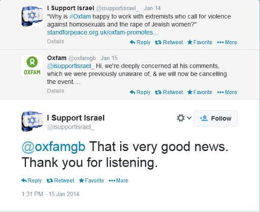 Tweet chain between Oxfam and Twitter account I support Israel