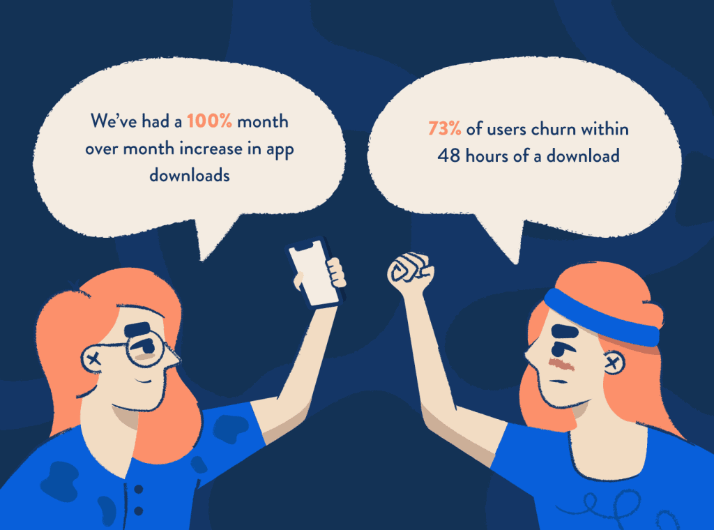 Two women who look the same (but one is wearing a headband and one is wearing glasses) raising their fists and arguing with each other about an increase in downloads versus customer churn