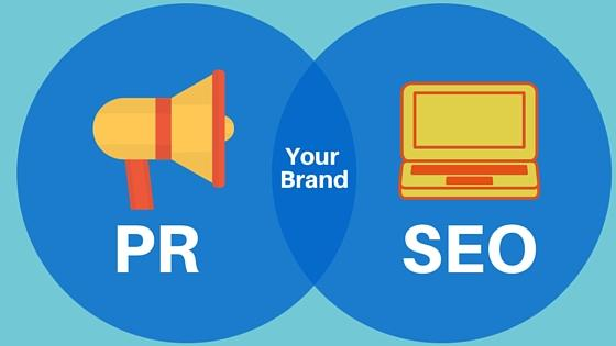 Venn diagram of PR (with a yellow megaphone) and SEO (with a yellow laptop) with 'your brand' in white text in the middle
