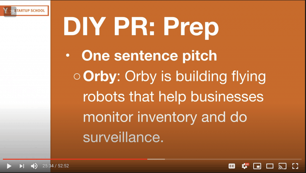 YouTube slide still of Orby's one-sentence pitch
