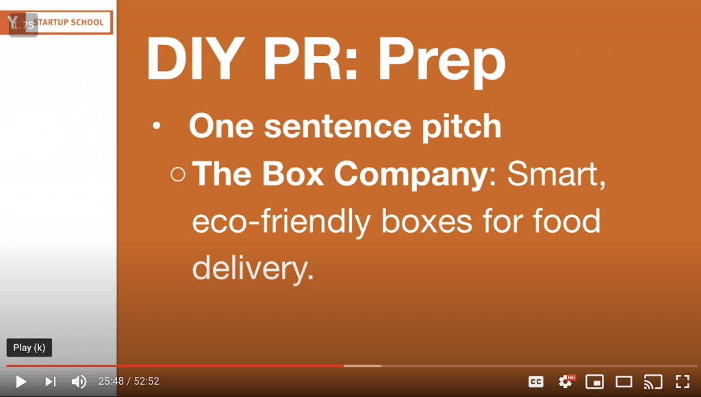 YouTube still about The Box Company's one-sentence PR pitch