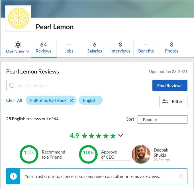 pearl lemon reviews glassdoor