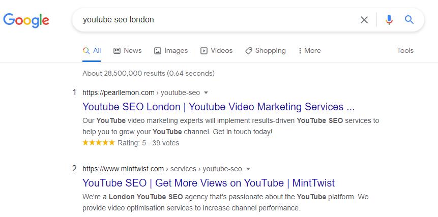 youtube seo london