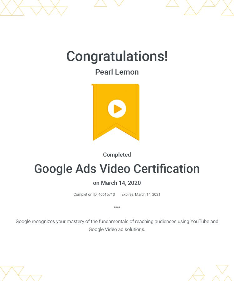 Ads Video Certification - Google