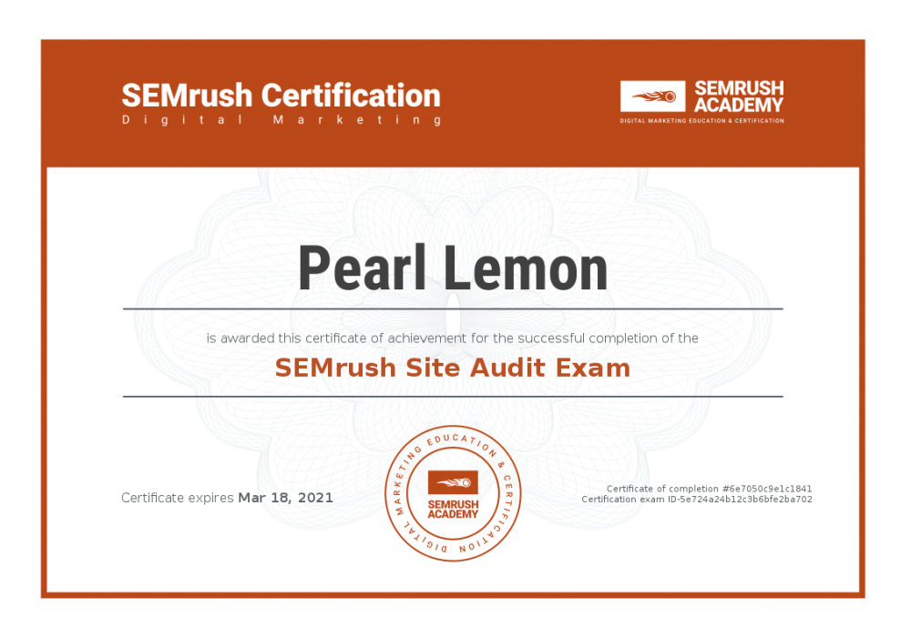 Certificate-semrush-site-audit