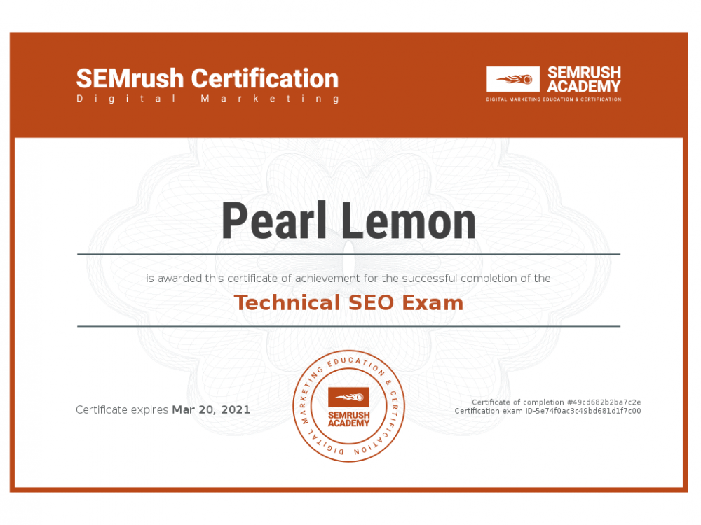 Certificate-technical-seo