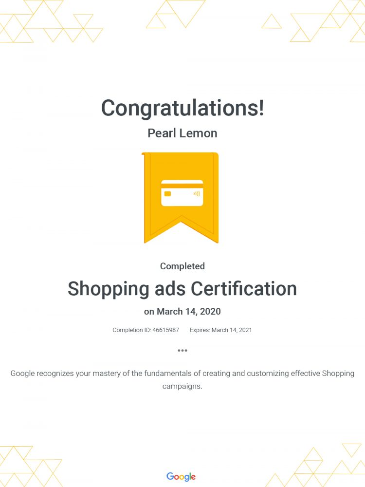 Shopping Ads Certification - Google
